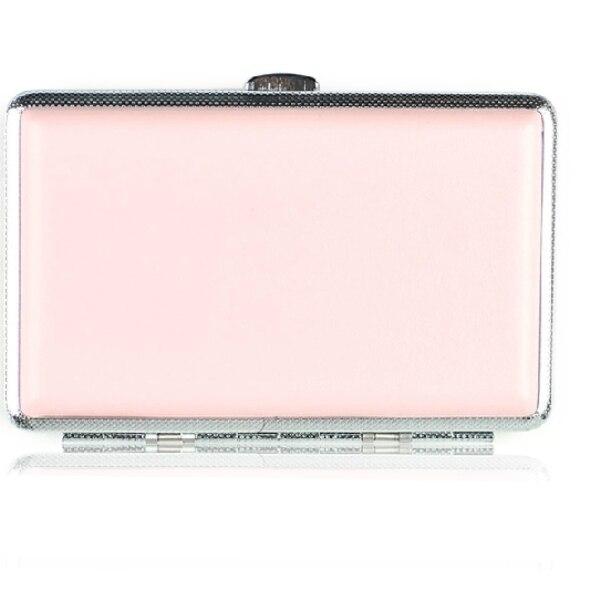 여성용 초박형 핑크 가죽 담배 케이스 더블 (14 개 보유) 선물 상자 포함 송료 무료 3pcs / lot