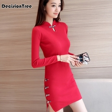 2019 chinese traditional dress long sleeve red black warm cheongsam dresses for women