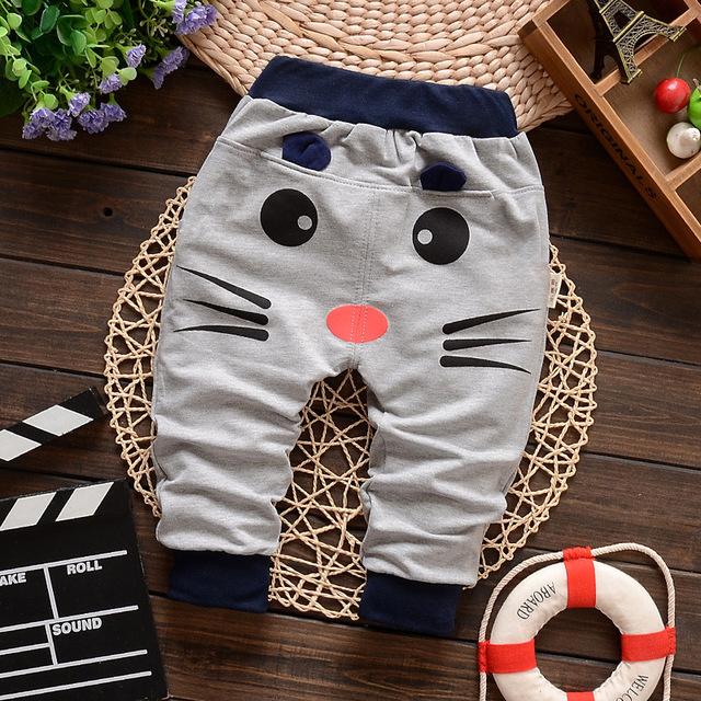 Calças Primavera Crianças Roupas Das Meninas Dos Meninos do bebê Algodão Padrão Gatos Do Bebê Calças Compridas Harem Pants Menina Roupa de Crianças