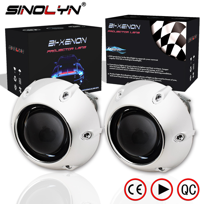SINOLYN 2.5'' Mini HID Bi xenon Lens Projector Headlight With Silver Shrouds For Car Automobiles Headlamp Retrofit DIY H1 H4 H7