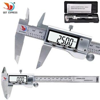 QSTEXPRESS 0-150mm ölçme aracı Paslanmaz Çelik Kumpas Dijital Sürmeli Kaliper Ölçer Mikrometre Paquimetro Messschieber 0059