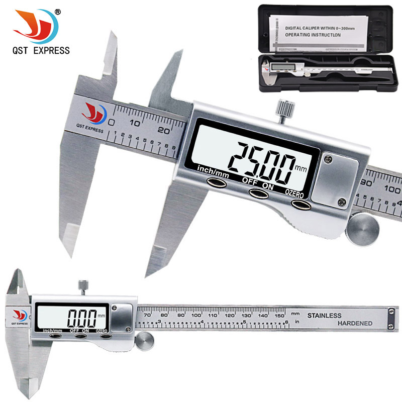 цена на QSTEXPRESS 0-150mm Measuring Tool Stainless Steel Caliper Digital Vernier Caliper Gauge Micrometer Paquimetro Messschieber 0059