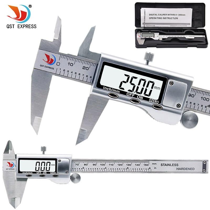 QSTEXPRESS 0-150mm Measuring Tool Stainless Steel Caliper Digital Vernier Caliper Gauge Micrometer Paquimetro Messschieber 0059