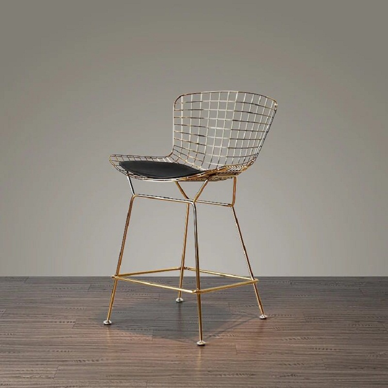 Free Shipping U-BEST Counter Height Bertoia Style Bar Stool,Stylish Design Furniture Metal Wire Lucy Counter Stool With Pad