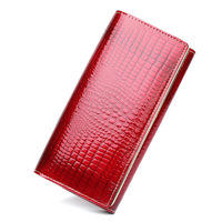 European Style Ladies Patent Leather Wallet Brand Long Crocodile Head Layer Cowhide Handbag Purse Beautiful Woman