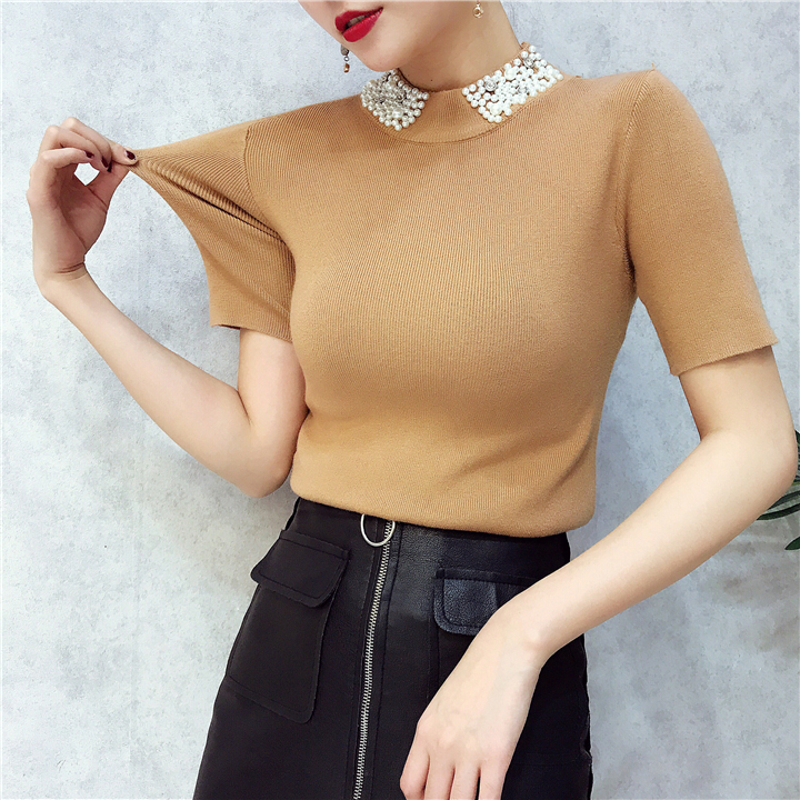 ALPHALMODA 18 Summer Ladies Short-sleeved Pearl Collar Pullovers Casual Slim Knit Sweater Women Studded Fashion Jumpers 22