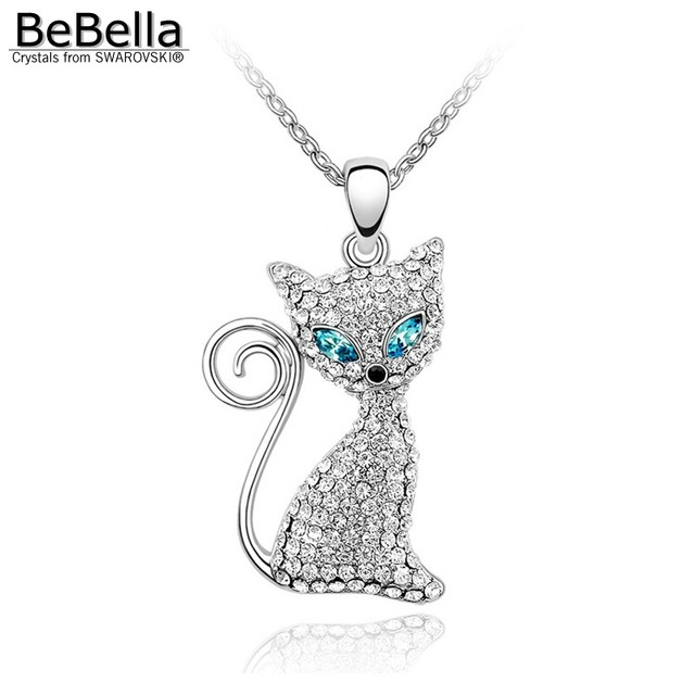 BeBella День матери подарок Кристалл лиса кулон ожерелье с Элементами SWAROVSKI для День матери подарок