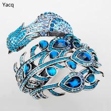 Yacq павлин браслет для Для женщин Кристалл браслет манжеты панк-рок Jewelry подарки для подруги жены ее A29; оптовая продажа; Прямая поставка;