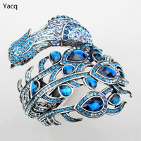 Peacock Bangle Bracelet For Women Silver Tone Summer Style Crystal Rhinestone Punk Rock Jewelry Charm Cuff