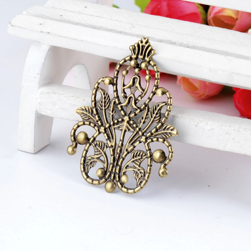 Free Shipping Retail 5Pcs Bronze Tone Filigree Wraps Flower Connectors Metal Crafts Gift Decoration DIY Findings 4.8x3.5cm F0334