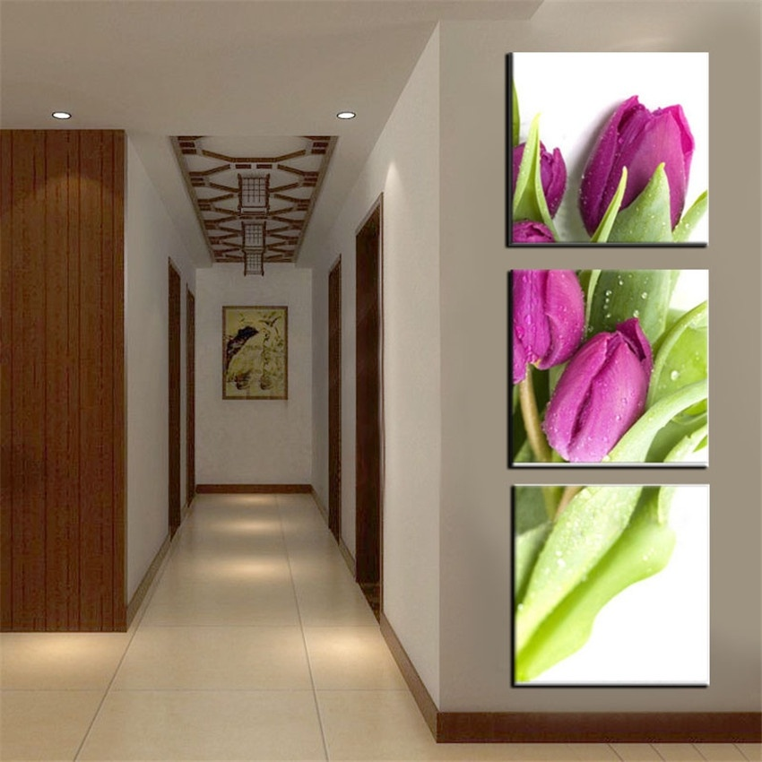 Low Priced Home Decor: 3 Panels Unframed Canvas Photo Prints Tulip Wall Art