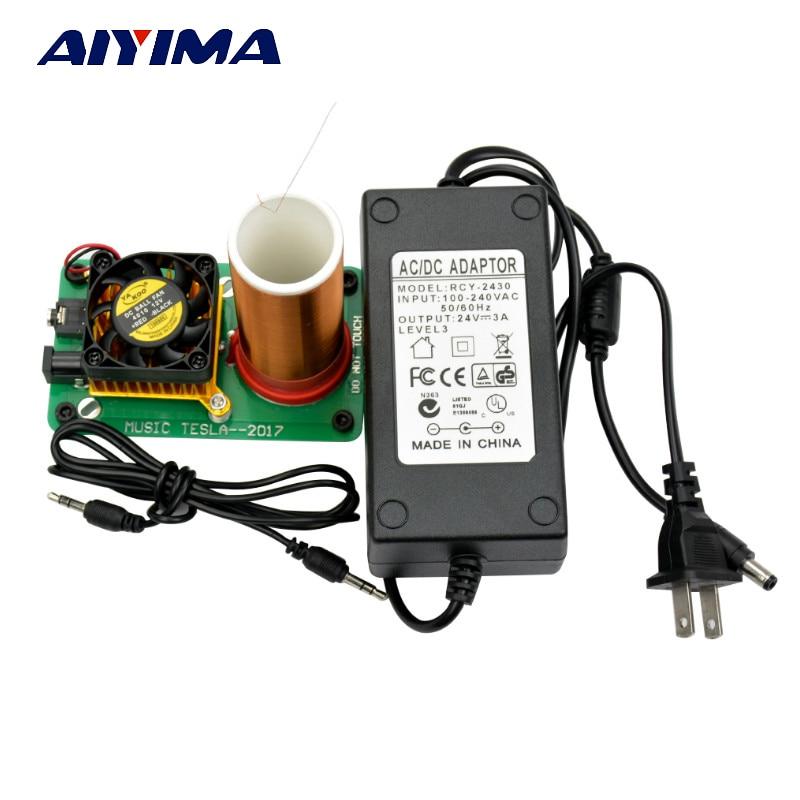 Aiyima DC 24V Music Tesla Coil Plasma Speaker horn Wireless Transmission isolation lights Diy Kits Tesla Arc Generator For DIY цена 2017