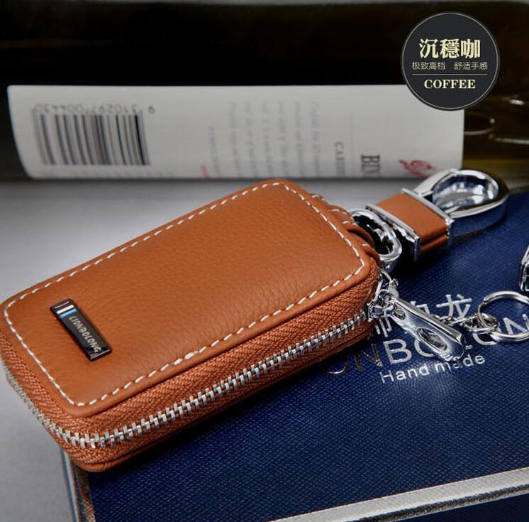 Genuine Leather Car Key Ring Khaki Key Cover For Acura