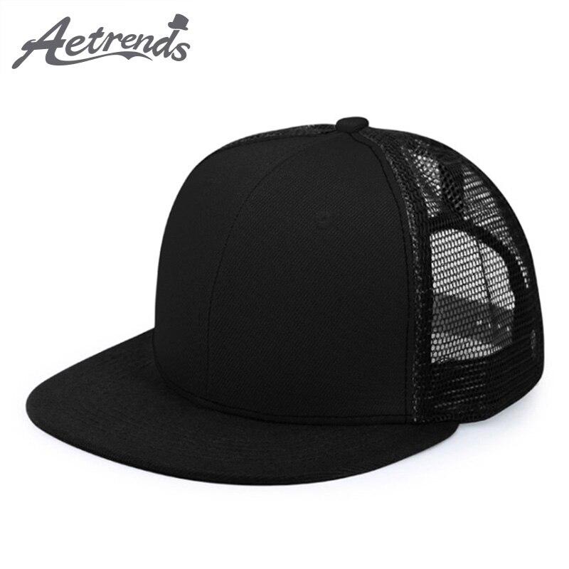 [AETRENDS] 2018 New Summer Mesh   Baseball     Caps   Sport Hip Hop   Cap   Men or Women Snapback Bone Flat Hats Z-6274