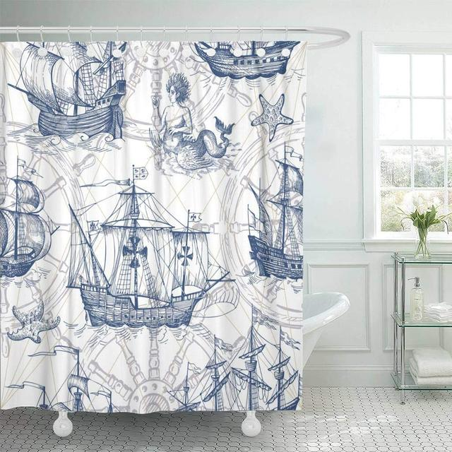 Fabric Shower Curtain Old Caravel Vintage Sailboat Sea Monster Monochrome Sketch For Boy Detail Of The Decorative Bathroom