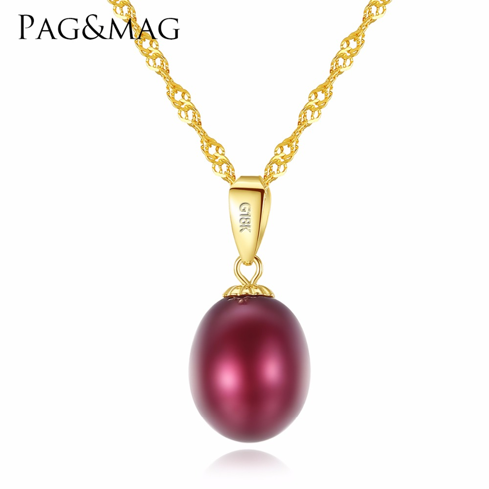 PAG&MAG Elegant Pearl 18K Yellow Gold Pendant Natural Freshwater Pearl Pendant Necklace 45cm Gift For Women Wedding Or Party