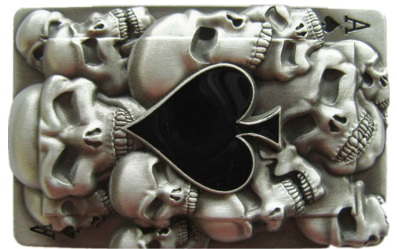 Розничная торговля Татуировка черепа Ace Spade ремень пряжка BUCKLE-CS040 прямые поставки с фабрики