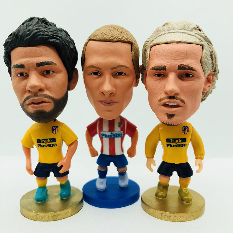 Soccerwe Diego Costa Griezmann Fernando Torres Simone Doll M Atletico Football Team Sheet Kit Figurine 2.6 Inches Height Resin