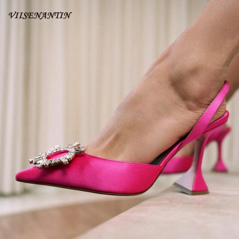 VIISENANTIN Rose Red Satin Lady Wedding Shoe Sexy Pointed Toe Crystal Buckle Wedding Party Shoe Celebrity Slingback Pumps