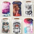 Fashion Women shirts Loose Cotton blend Short Sleeve Necklace Owl Print Shirt Summer Tee Blousa Tops