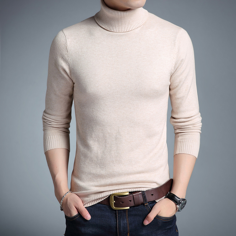 2019 New Spring High Neck Warm Sweater Men Turtleneck Brand Mens Sweaters Slim Fit Pullover Men Knitwear Male Double Collar 4XL