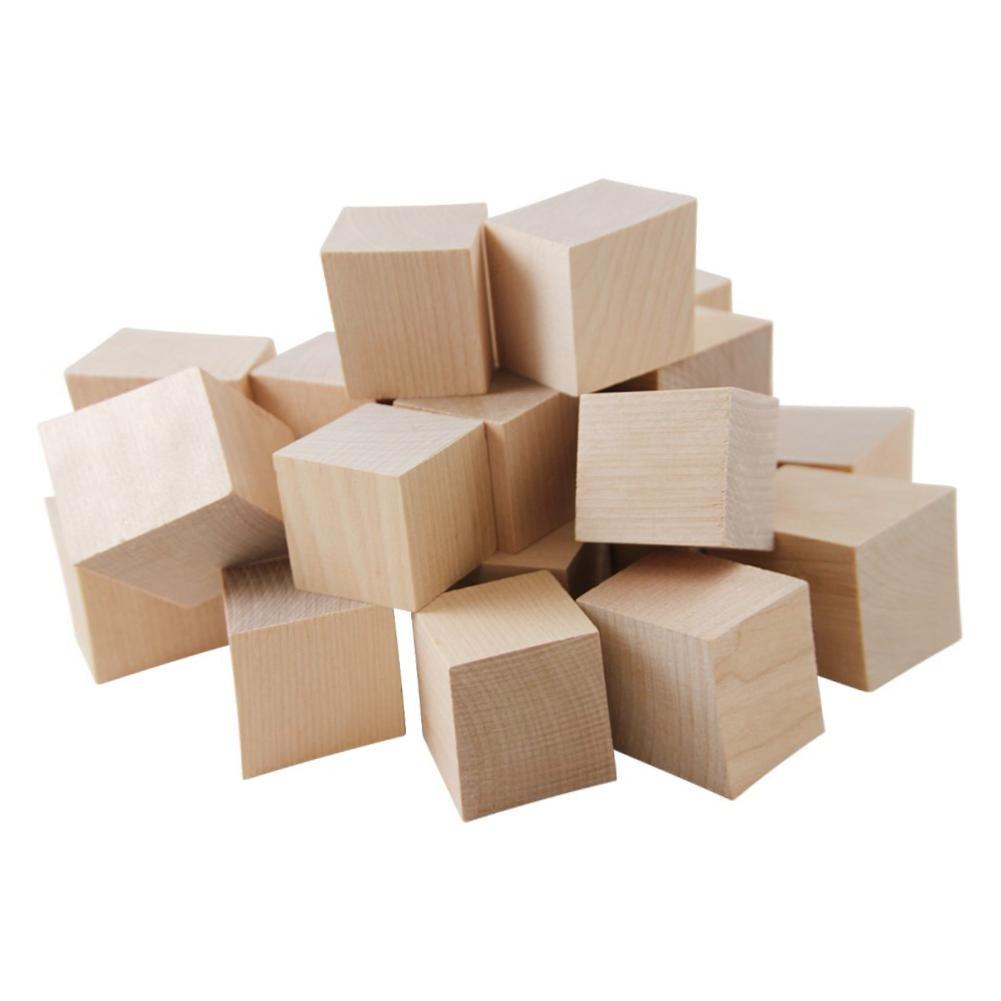 10/20/25mm Wooden Square Blocks Mini Cubes Embellishment For Woodwork Craft DIY 30/40/50mm