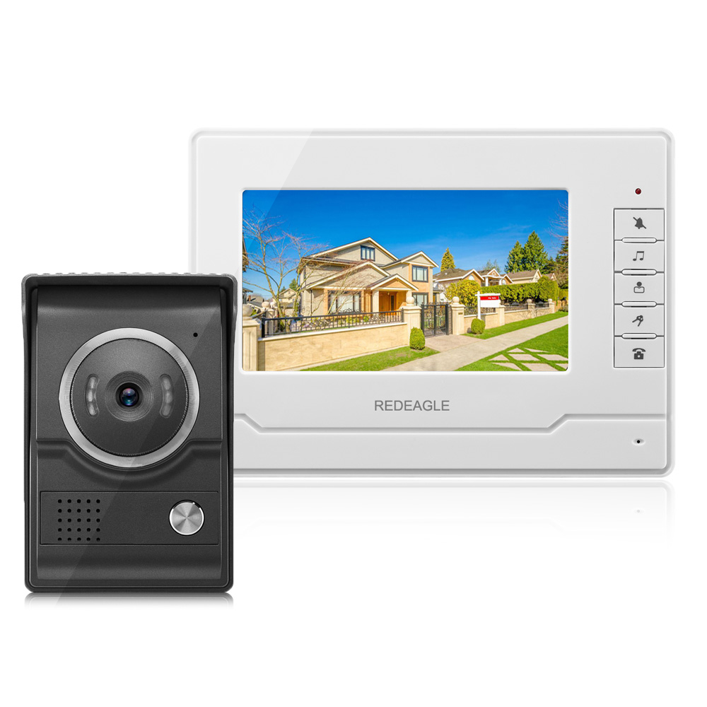 REDEAGLE Wired Video intercom Door Phone Doorbell System with 7 inch Color LCD Monitor and Night Vision Rainproof Camera homefong 4 inch monitor lcd color video record door phone doorbell intercom system night vision 1200tvl high resolution
