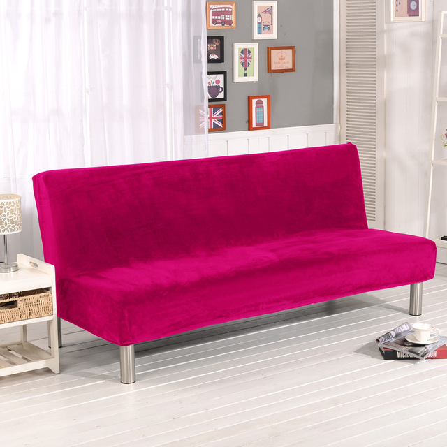 Without Armrest Plush Sofa Cover All Inclusive Big Elastic Anti Mite Velvet  Red Cover