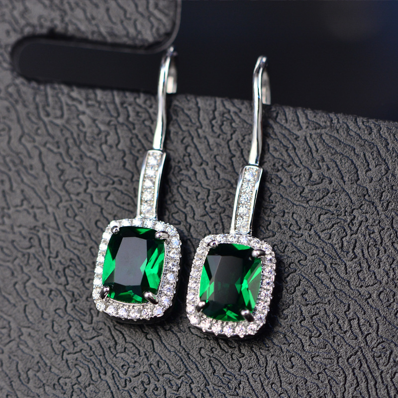 HTB1UBLFMhTpK1RjSZFMq6zG VXaU - OneRain 100% 925 Sterling Silver 6 * 8 MM Emerald Citrine Sapphire Gems Drop Dangle Hook Earrings For Women Jewelry Wholesale