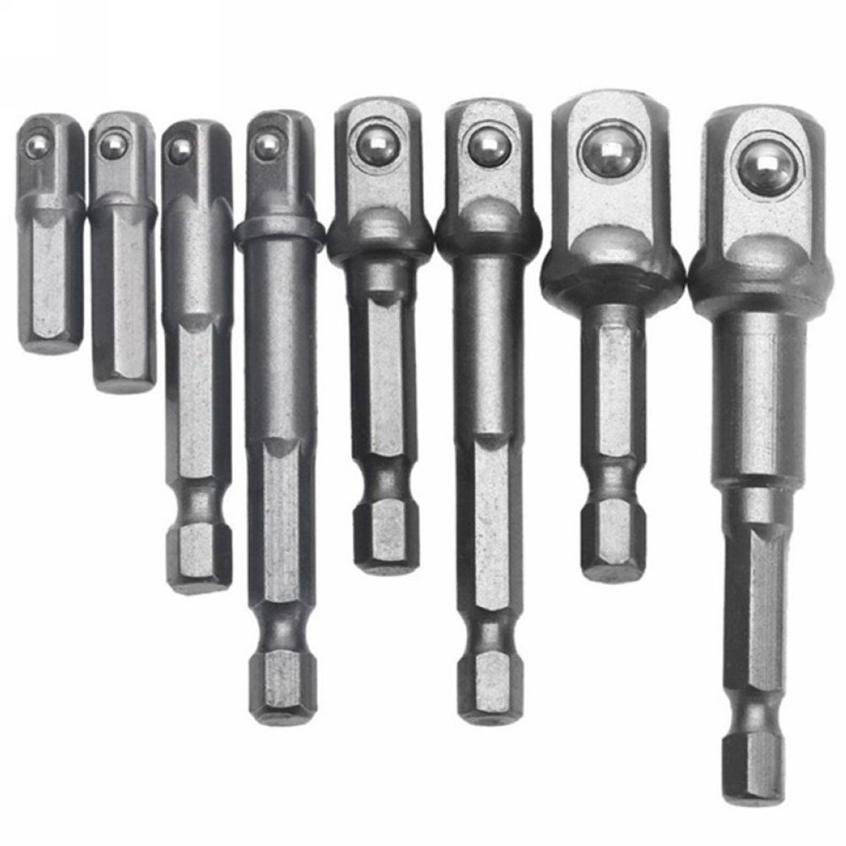 8pcs/set Socket Bits Adapter Set Hex Drill Nut Driver Power Shank 1/4 3/8 1/2 Connecting Rod Head Extension Drill Bits Mayitr new 50mm wall hole saw drill bit set 200mm connecting rod with wrench mayitr for concrete cement stone