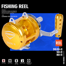 DG80 carrete de pesca Jigging para bote, dos velocidades, con palanca de arrastre, aluminio, CNC, mecanizado, 45KG, arrastre máximo