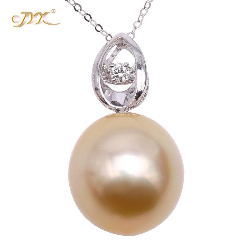 JYX 2019 18 K pendentif en or AAA + qualité 14*15mm ovale doré mer du sud perle de culture pendentif parsemé de diamants collier