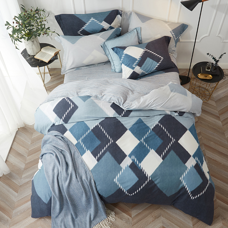 Geometric Plaid and Striped Sanding Tencel Bedding Set Queen Size King Size Home Textiles Duvet Cover Bedsheets PillowcaseGeometric Plaid and Striped Sanding Tencel Bedding Set Queen Size King Size Home Textiles Duvet Cover Bedsheets Pillowcase