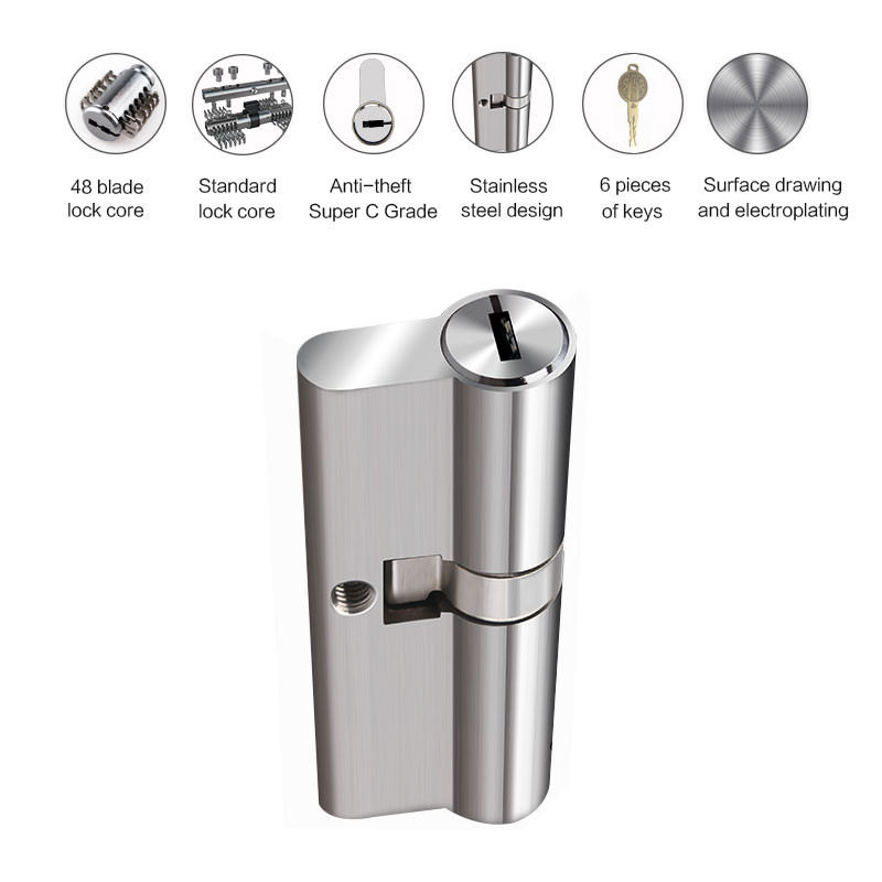 85mm stainless steel C-level cylinder multi-cylinder double-sided blade door lock safety lock core explosion-proof lock