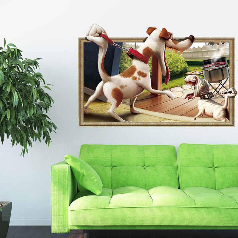 Cartoon 3D Window View Wall Stickers Dog Wall PVC Wall Decals/Adhesive Art Wallpaper Animals Party Home Decoration DIY Removable