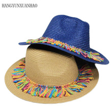 Summer Hat Women Panama Straw Fedora Colorful Tassels  Brim Visor Casual Sun Hats for Sombrero 2019