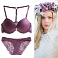 Designer Brand Sexy Elegant Bra and Panty Women Bras Brief Sets Underwear padded push up Lingerie Lace bralette for small breast