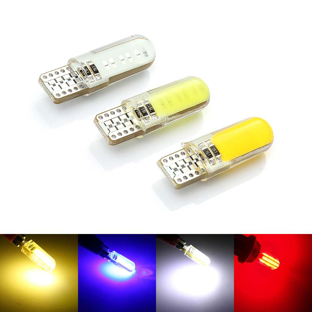 Auto LED W5W LED Bulbs White 194 168 501 12Chips COB Silicone Shell Car LED Headlight Lights Super Bright Turn Side Lamp 12V