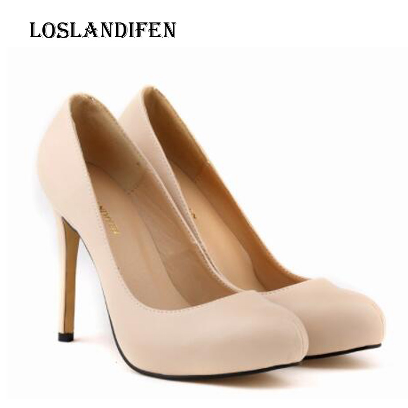 Loslandifen Ladies Fashion Round Toe Plus Size 35-42 Solid Color Party High Heel Shoes Women Autumn Ultra High Heel Daily Pumps