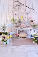 HUAYI Easter Decorations In The Room In Pastel Colors Flowers Eggs Rabbits Photography Newborn Backdrop XT4321