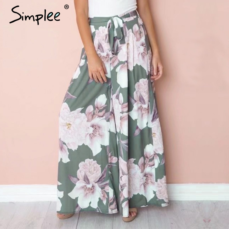 Simplee Sash floral print   wide     leg     pants   women Elastic loose boho casual   pants   trousers Beach summer high waist   pants   female