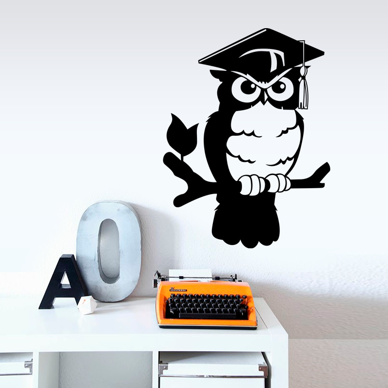 cartoon Doctorial hat owl Removable Wall Sticker Nursery Kid bedroom sofa Decor Decal tip accessories