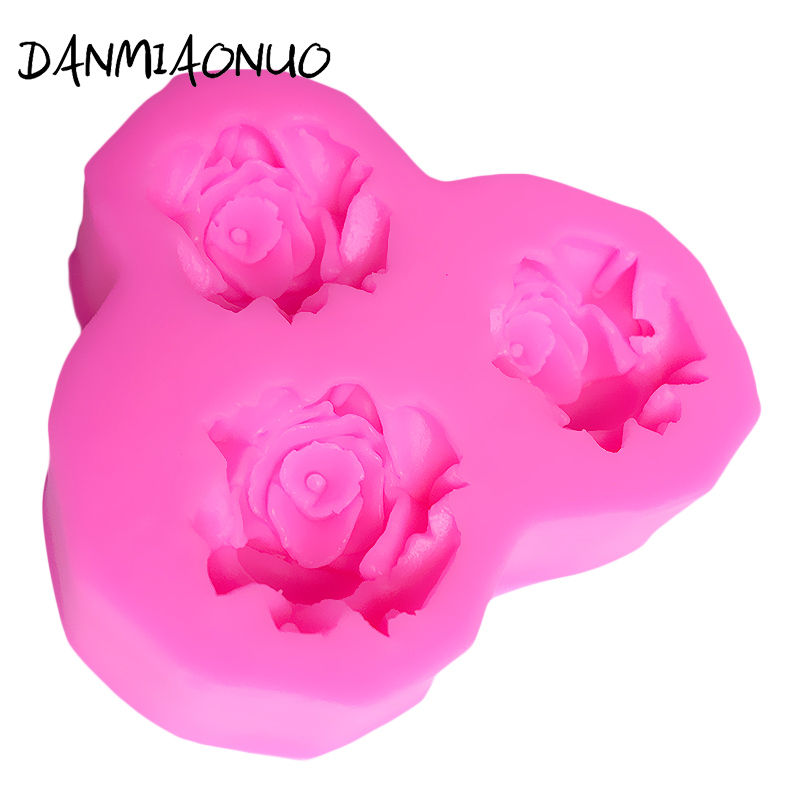 DANMIAONUO Bar Rose Silicone Mold Flower Cake Decorating 3D Muffin Cake Silicone Mold Baking Tools For Cakes Chocolate A340405 in Cake Molds from Home Garden