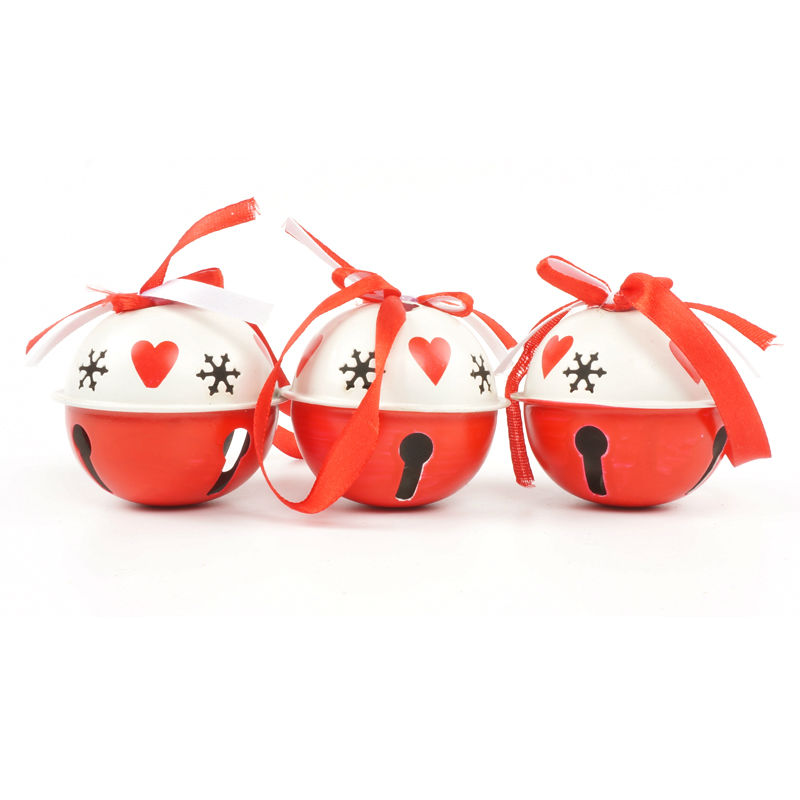 6pcs/set white & red metal jingle bell large size 65mm*65mm*60mm with bowknot Christmas decoration for home free shipping