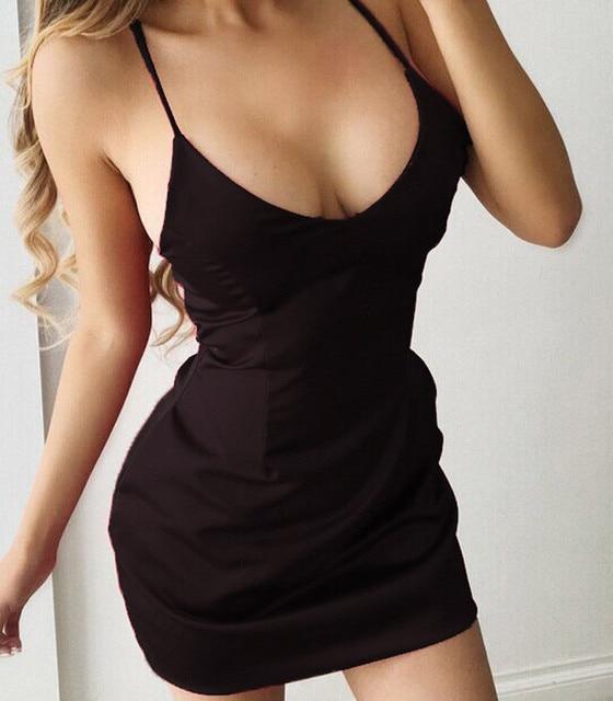 cdaf307082 Sexy Women Backless Deep V Neck Club Dress Low Chest Ladies Summer Sexy  Dress Bandage Package Hip Dress Evening Mini Dress