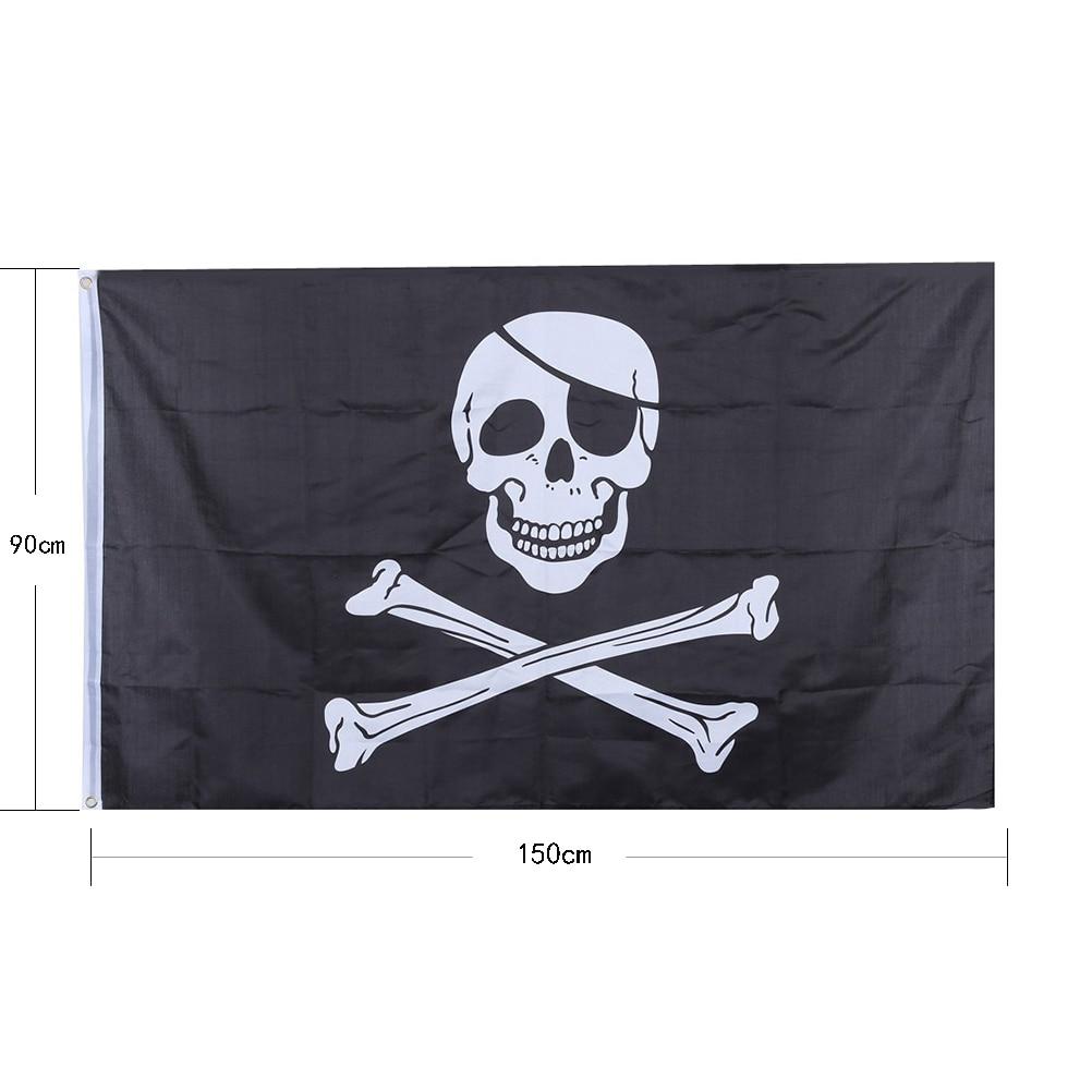 Galleria fotografica 1 PZ Nero Teschio Pirata Jolly Roger Pirate <font><b>Flags</b></font> Con Occhielli Halloween Ghost <font><b>Assassins</b></font> <font><b>Creed</b></font> Bandiera 90*150 centimetri