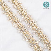 (1 YARD) Bridal crystal Rhinestone Applique Trim gold beaded trim iron on  for wedding 0ffbbd14fe38