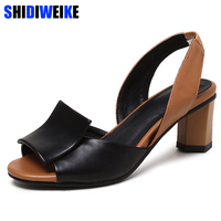 Big Size 34 43 Slingback Sandals Women Brand Mixed Colors Back Strap Summer Shoes Woman Thick Heels Sandals Footwear m368