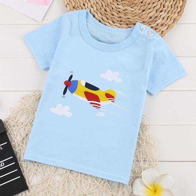 Softu Summer Baby Boys T Shirt Cartoon Car Print Cotton Tops Tees T Shirt for Boys Kids Children Outwear Clothes Tops 2-8 Year Boys T Shirts