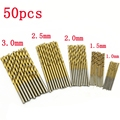 hot 50Pcs Mini HSS Twist Drill Bit Set HSS High Steel Titanium Coated Drill Woodworking Wood Tool 1/1.5/2/2.5/3mm For Metal